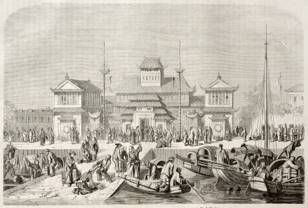 asian ancestry: Shanghai customhouse, old illustration. Created by Grandsire after Trevise, published on Le Tour du Monde, Paris, 1860