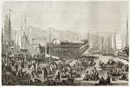 The port of Shanghai, old illustration. Created by Grandsire after Trevise, published on Le Tour du Monde, Paris, 1860  Éditoriale