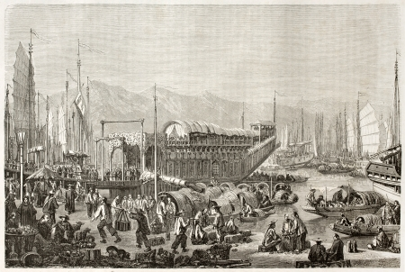 The port of Shanghai, old illustration. Created by Grandsire after Trevise, published on Le Tour du Monde, Paris, 1860  Editorial