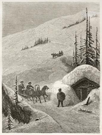shkhara: Sleigh on Mount Shkhara peak, Georgia. Created by Moynet, published on Le Tour du Monde, Paris, 1860