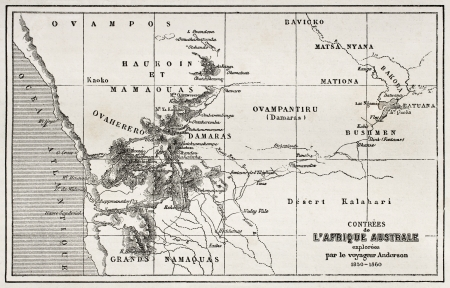 south africa map: South western Africa old map. Created by Erhard and Bonaparte, published on Le Tour du Monde, Paris, 1860  Editorial