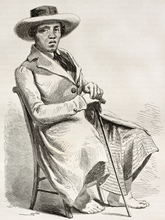 tahitian: Tahitian man old engraved portrait. Created by Giraud, published on Le Tour du Monde, Paris, 1860 Editorial