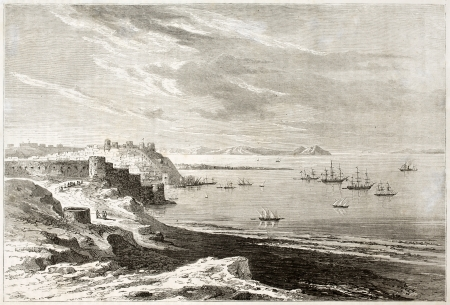 gibraltar: Tangier old view, Morocco.  Created by De Berard, published on Le Tour du Monde, Paris, 1860