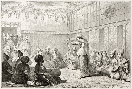 Dancer in Tatar home interior old illustration. Created by Beaunce after Moynet, published on Le Tour du Monde, Paris, 1860  Stock Photo - 15055521