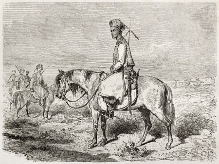 Old illustration of a Tatar horseman. Created by Dore after Trevise, published on Le Tour du Monde, Paris, 1860
