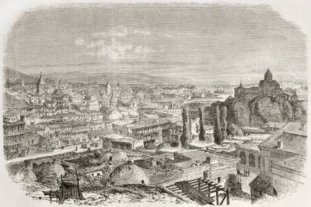 Old view of Tbilisi, Georgia. Created by Therond after photo of unidentified author, published on Le Tour du Monde, Paris, 1860