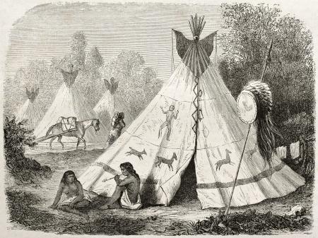 indio americano: Antigua ilustración de un tipi en el campamento comanche nativo americano. Creado por Duveaux después del informe realizado bajo la dirección de la secretaria de EE.UU. de la guerra. Publicado en Le Tour du Monde, París, 1860