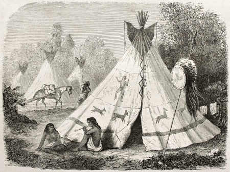 Old illustration of a Tepee in Comanche native American camp. Created by Duveaux after report made under the direction of the U.S. secretary of the war. Published on Le Tour du Monde, Paris, 1860 Editorial