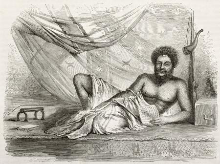 black ancestry: Old engraved portrait of Thakombau, king of Fiji islands. Created by Fath, published on Le Tour du Monde, Paris, 1860