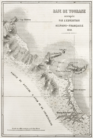 nang: Old illustration of Tourane (nowadays Da Nang) bay map. Created by Erhard and Bonaparte, published on Le Tour du Monde, Paris, 1860