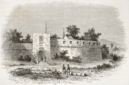 Trebinje castle old view, Bosnia Herzegovina. Created by De Bar after Lejean, published on Le Tour du Monde, Paris, 1860