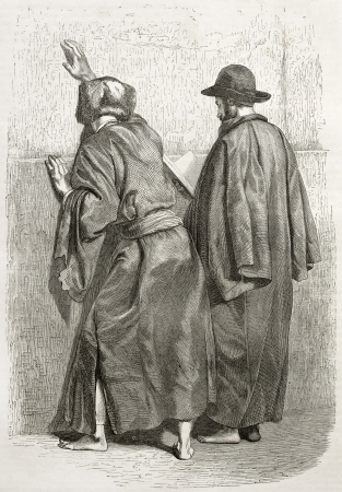 Old illustration of two praying Jews at the Western Wall, Jerusalem. Created by Bida and Gusmand, published on Le Tour du Monde, Paris, 1860