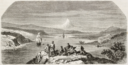 asian ancestry: Old view of the gulf of Yedo entrance (Tokyo). Created by Jules Noel after Tronson, published on Le Tour du Monde, Paris, 1860
