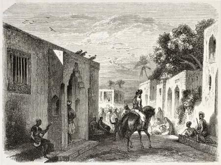 african ancestry: Zanzibar city old view. Created by De Berard, published on Le Tour du Monde, Paris, 1860