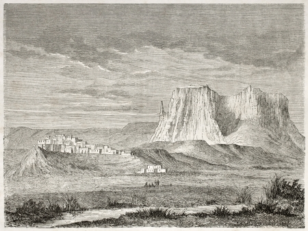 ancestry: Old view of Zuni Pueblo, New Mexico, USA. Created by Lancelot after report made under the direction of the U.S. secretary of the war. Published on Le Tour du Monde, Paris, 1860