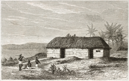 tanganyika: African home old illustration, near Lake Tanganyika. Created by Lavieille after Burton, published on Le Tour du Monde, Paris, 1860. Editorial