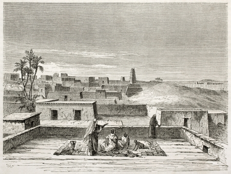 african ancestry: Agadez old view, northern Niger. Created by Lancelot after Barth, published on Le Tour du Monde, Paris, 1860 Editorial