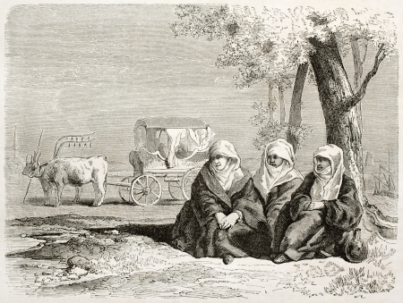 albanian: Albanian women old illustration, Vasilika, Greece. Created by Villevieille after Proust, published on Le Tour du Monde, Paris, 1860  Editorial
