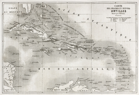 dominican: Antilles old map. Created by Vuillemin and Erhard, published on Le Tour du Monde, Paris, 1860