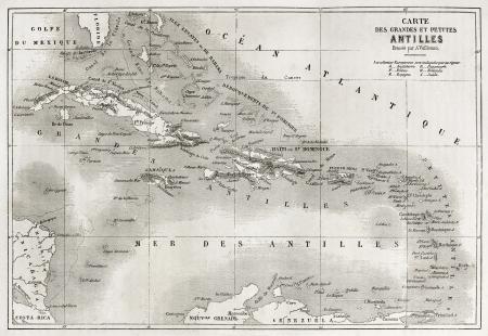 indies: Antilles old map. Created by Vuillemin and Erhard, published on Le Tour du Monde, Paris, 1860