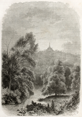 francais: Ava kingdom territory old illustration (today Burma) with Rangoon pagoda in the background. Created vby Francais after photo of unknown author,  published on Le Tour du Monde, Paris, 1860