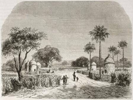 african ancestry: Belenia village old view, Sudan. Created by Lancelot after Werne, published on Le Tour du Monde, Paris, 1860.
