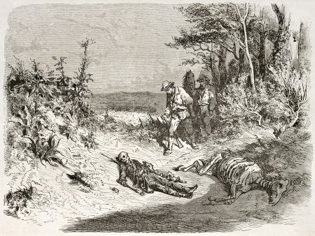 Body remains of a traveller found in Australian desert near lake Torrens. Created by Dore,  published on Le Tour du Monde, Paris, 1860
