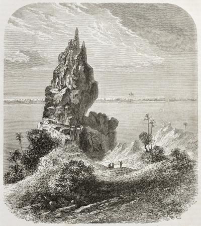 islet: Bora Bora rocks and reef old view. Created by De Berard, published on Le Tour du Monde, Paris, 1860