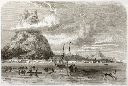 Bora Bora anchorage and peak reef old view. Created by De Berard, published on Le Tour du Monde, Paris, 1860
