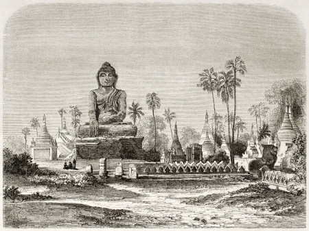 Buddha statue in Amarapura, Burma. Created by Lancelot after Yule, published on Le Tour du Monde, Paris, 1860