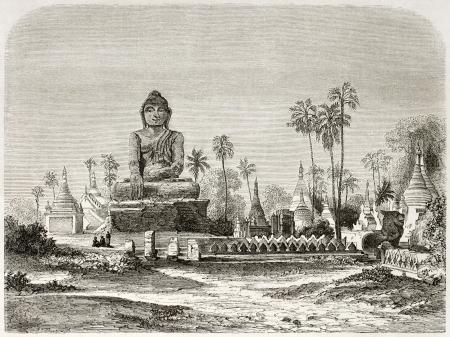 gautama: Buddha statue in Amarapura, Burma. Created by Lancelot after Yule, published on Le Tour du Monde, Paris, 1860
