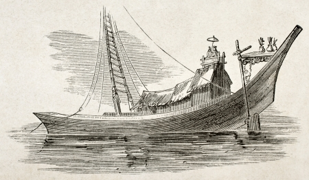 Burmese commercial craft old illustration. By unidentified author, published on Le Tour du Monde, Paris, 1860