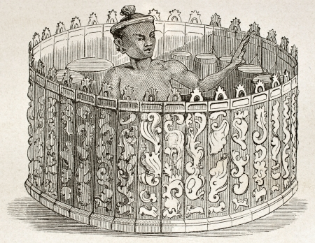 old fashioned sepia: Burmese drum-armonica (Pattshaing) old illustration. By unidentified author, published on Le Tour du Monde, Paris, 1860