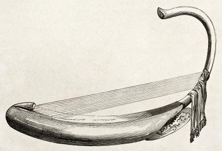 published: Burmese harp old illustration. By unidentified author, published on Le Tour du Monde, Paris, 1860