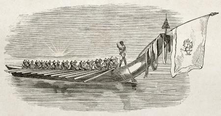 canoe paddle: Burmese parade craft old illustration. By unidentified author, published on Le Tour du Monde, Paris, 1860