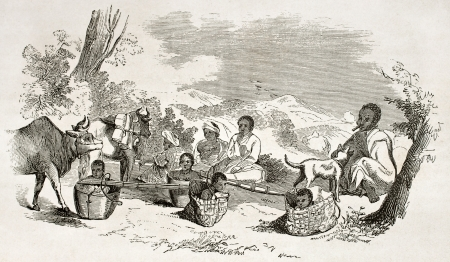 asian ancestry: Burmese people travelling, old illustration.  Created by Yule, published on Le Tour du Monde, Paris, 1860