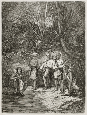 machete: Burmese men in the forest old illustration. Created by Pelcoq after photo of unknown author, published on Le Tour du Monde, Paris, 1860