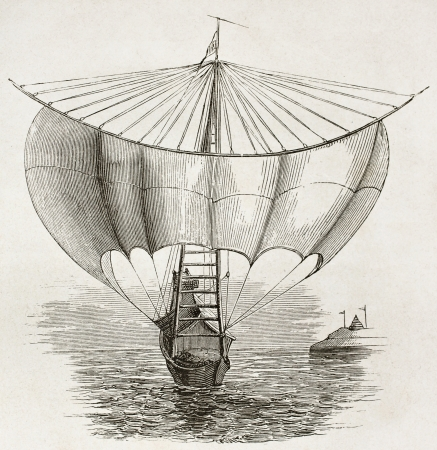 burmese: Burmese sailboat on Irrawaddy river, old illustration. By unidentified author, published on Le Tour du Monde, Paris, 1860