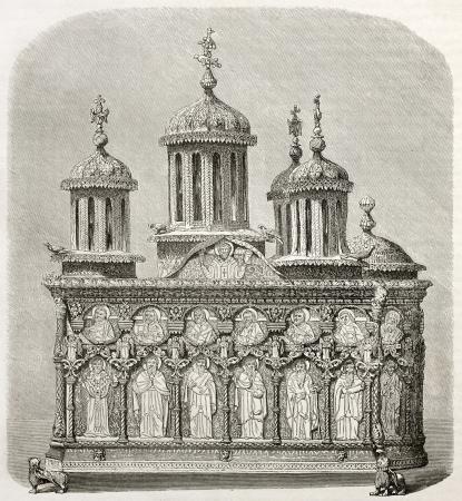 embossment: Old casket kept in Karyes monastery treasure. Created by Therond after photo of unknown author, published on Le Tour du Monde, Paris, 1860 Editorial