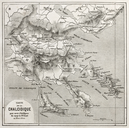 Chalkidiki old map, Greece. Created by Vuillemin, published on Le Tour du Monde, Paris, 1860