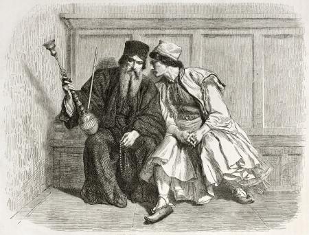 sotana: Confesión viejo ilustración. Creado por Bida, publicado en Le Tour du Monde, París, 1860