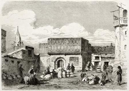african ancestry: Suez, corn marketplace old illustration. Created by Lejean, published on Le Tour du Monde, Paris, 1860