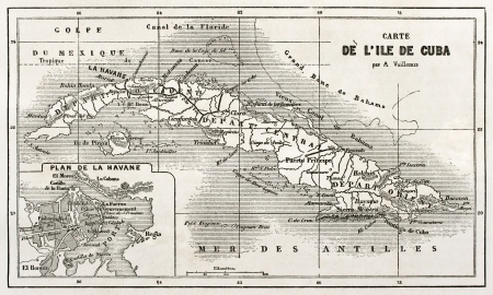 Cuba old map with Havana insert plan. Created by Vuillemin and Erhard, published on Le Tour du Monde, Paris, 1860  Editorial