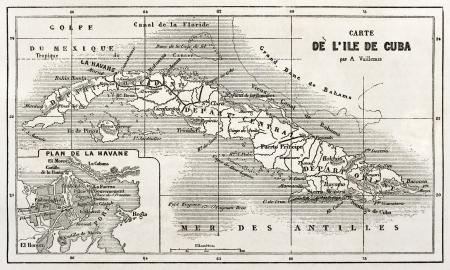 Cuba old map with Havana insert plan. Created by Vuillemin and Erhard, published on Le Tour du Monde, Paris, 1860  Éditoriale