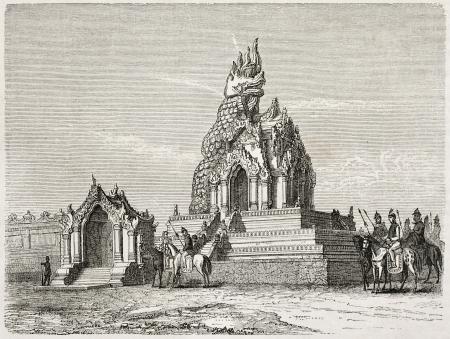 birma: Draak tempel oude illustratie, Amarapura, Birma. Gemaakt door Lancelot na Yule, gepubliceerd op Le Tour du Monde, Parijs, 1860
