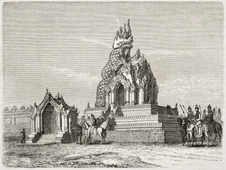 Dragon temple old illustration, Amarapura, Burma. Created by Lancelot after Yule, published on Le Tour du Monde, Paris, 1860 Editorial