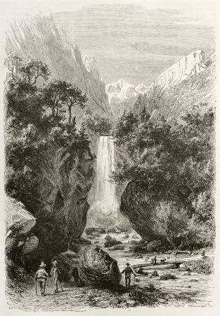 Druise waterfalls old view, France. Created by Girardet after Muston, published on Le Tour du Monde, Paris, 1860  Stock Photo - 15080471