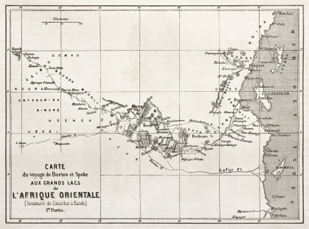 african ancestry: Itinerary old map from Zanzibar to Kazeh. Created by Erhard, published on Le Tour du Monde, Paris, 1860