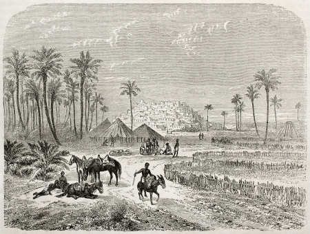 african ancestry: Edri oasis old illustration, Fezzan, Libia. Created by Rouargue after Barth, published on Le Tour du Monde, Paris, 1860