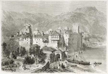 constantinople: Esphigmenou monastery old view, Mount Athos, Greece. Created by Girardet after photo of unknown author, published on Le Tour du Monde, Paris, 1860